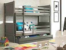 Dětská patrová postel RICO 200 cm, grafit, 2. jakost - VÝPRODEJ