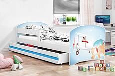 Dětská postel LUKI se šuplíkem - barva bílá - medvídek