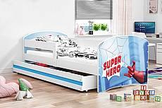 Dětská postel LUKI se šuplíkem - barva bílá - závodní auto