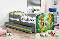 Dětská postel LUKI se šuplíkem - barva grafit - baletka