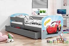 Dětská postel LUKI se šuplíkem - barva grafit - ZÁVODNÍ AUTO