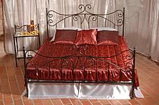 Kovová manželská postel Erika 180 x 200 cm - patina stříbrná