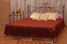 Kovová manželská postel Erika bez předního čela 180 x 200 cm - patina stříbrná