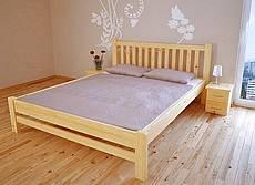 Manželská postel z masivu KIKA - 140 cm - oranžová tmavá