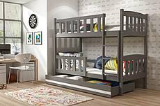 Patrová postel KUBÍK se šuplíkem 190 cm - barva grafit - SLEVA