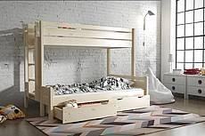 Patrová postel z masivu JARDA pro 3 osoby - 80/140 cm - mahagon