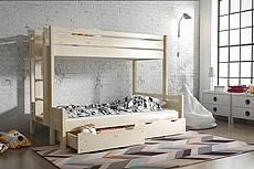 Patrová postel z masivu JARDA pro 3 osoby - 90/120 cm - hnědá světlá