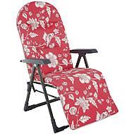 Polohovací křeslo Ploxy Plus - červená/květy