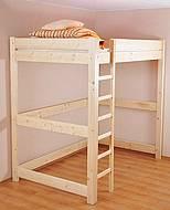 Vyvýšená postel z masivu ANDY - 90 cm - hnědá tmavá